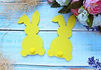 """Фетровый декор """"Кролик с хвостиком """", 11 х 6 см, 10 шт/уп.,  желтого цвета ПД, фото 1"""