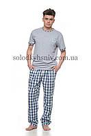 Піжама чоловіча ELLEN штани+футболка Синя Клітинка Ч-022/001