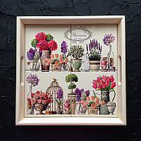 """Квадратный поднос кухонный из натурального дерева с керамикой и ручками прованс """"Цветы в ряд"""""""