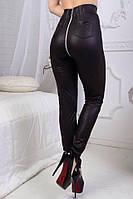 Черные женские стильные кожаные лосины со змейкой сзади и завышенной талией. Арт-2696/88