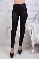 Черные женские кожаные лосины с карманами и высокой посадкой. Арт-2697/88