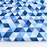"""Ткань бязь """"Треугольники сине-голубые"""", №1202а"""