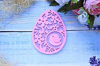 """Фетровый декор """"Подвеска ажурное яйцо с птичкой """", 11 х 8,5 см, 5 шт/уп., розовый + сирень ПД, фото 1"""