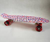Детский скейт скейтборд пенни красный флаг Profi MS