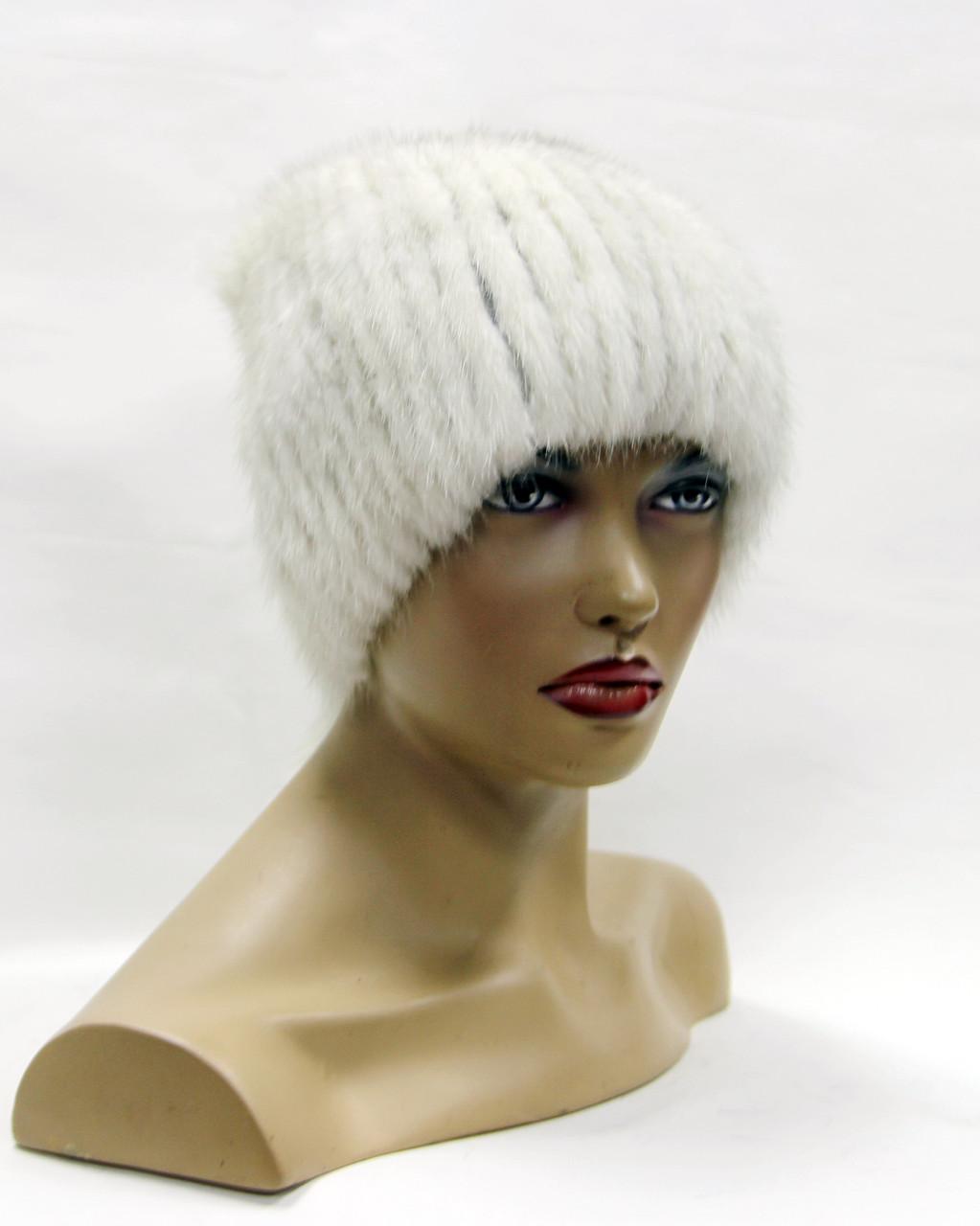 шапка норковая на вязаной основе хвост белая продажа цена в