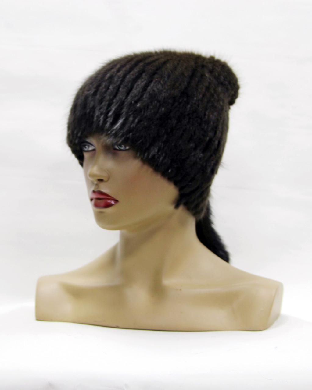шапка норковая на вязаной основе хвост ткор продажа цена в