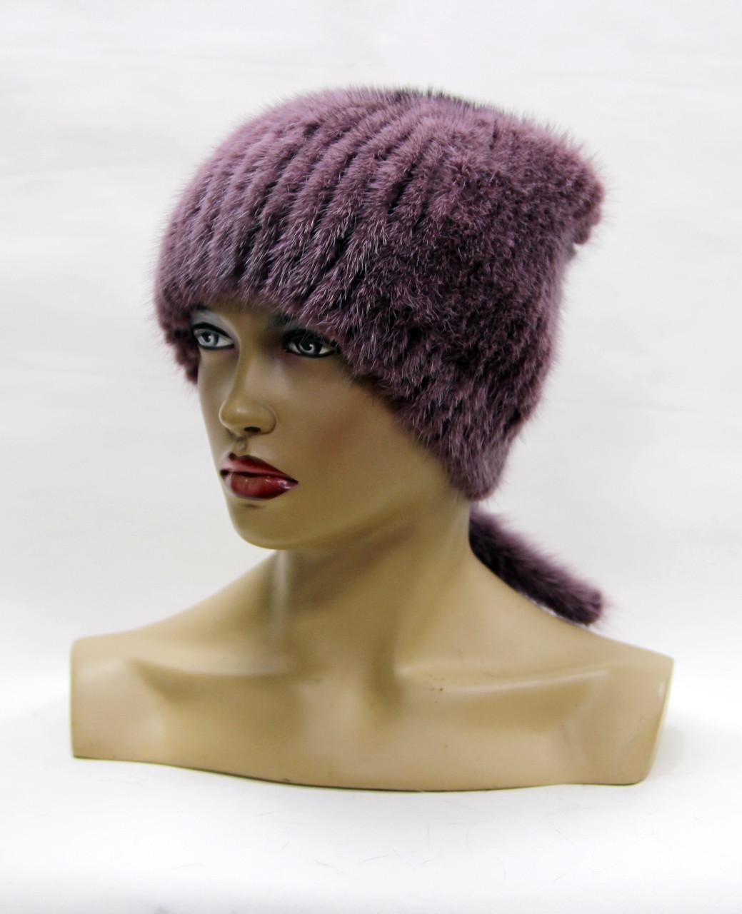 норковая шапка на вязаной основе хвост сирень продажа цена в