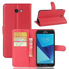 Чехол для Samsung Galaxy J7 2017 J720 J720F US Version книжка кожа PU красный