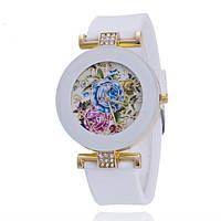Часы женские Витражные цветы силиконовы ремешок белые 066-01