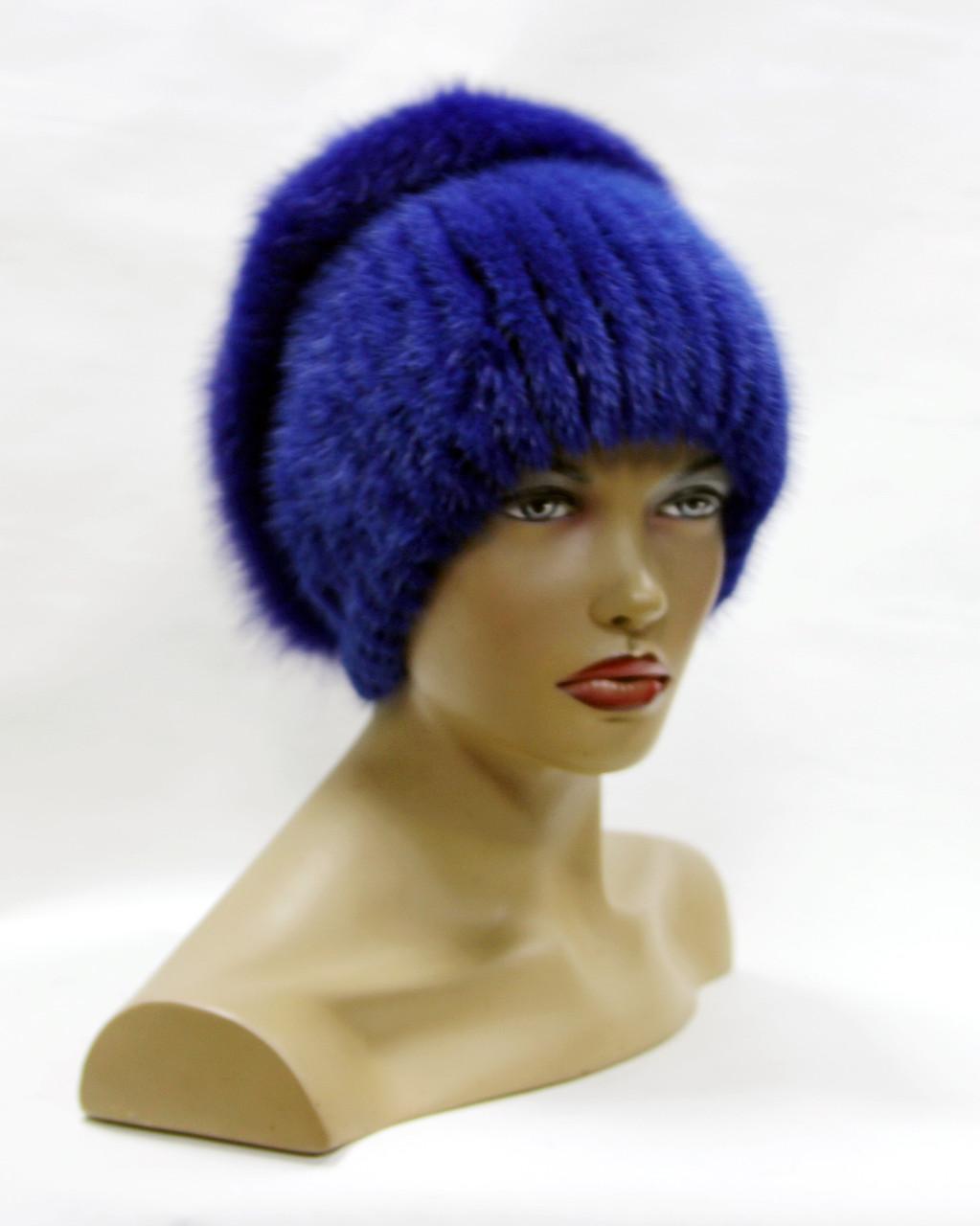 шапка норковая женская на вязаной основе перо с песцом джинс