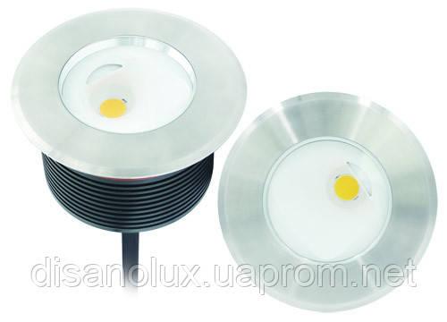 Cветильник грунтовый  UL-30W-COB asymmetric    размер:D185 * 72 мм IP 67 6000К
