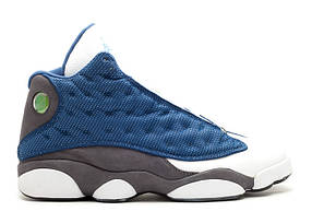 Кроссовки баскетбольные Nike Air Jordan 13 Blue/White/Grey, материал - кожа+нубук
