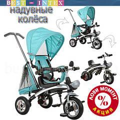 Велосипед+беговел M 3212-1 Бирюзовый (надувные колёса)