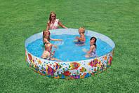Детский каркасный бассейн Intex 56453 Солнечные рыбки, диаметр 244см. Детские бассейны интекс