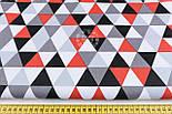 """Ткань бязь """"Треугольники серо-красные"""", №1204а, фото 4"""