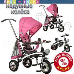 Велосипед+беговел M 3212-4 Розовый (надувные колёса)