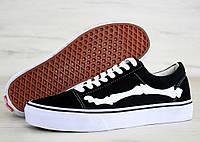 Кеды Vans Old Skool Bone Jazz-Stripe (black/white). Живое фото (Реплика ААА+)