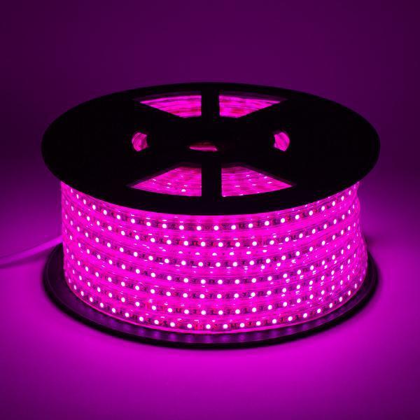 Светодиодная лента smd 2835-120 220В IP68 розовая Premium