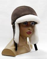 Норковая ушанка женская с козырьком (белый-кофе)