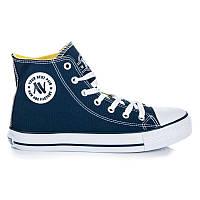 03-11 Темно-синие высокие женские кроссовки 082N/N