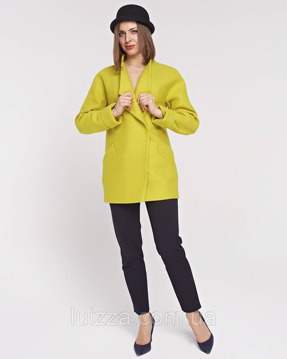 Женское полупальто на запах 42 - 56 р желтое 44