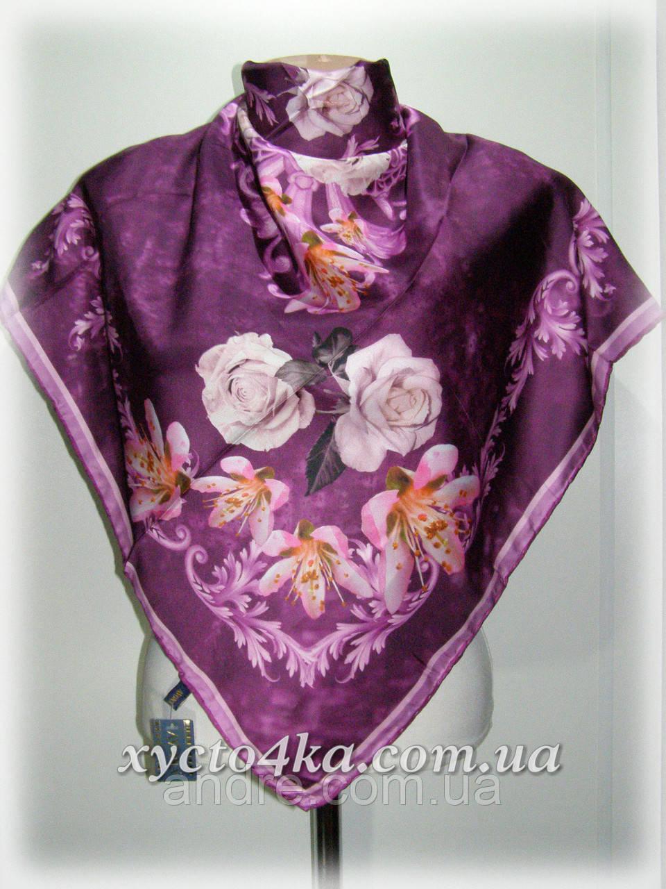 Шелковый платок дыхание весны, фиолетовый