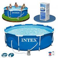 Каркасный бассейн Intex 28202 с фильтр-насосом, диаметр 305см. Бассейны во двор, бассейны наливные интекс, фото 1