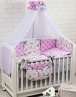 """Постель в кроватку """"Маленькая балерина"""" серо-розового цвета №252"""