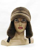 Женская ушанка с козырьком плетенное ухо (пастель)