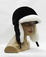 Шапка-ушанка норковая с козырьком (бело-черный)