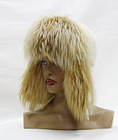 Женская шапка ушанка из белой норки и лисы