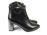 Кожаные черные женские ботиночки на каблуке, фото 1