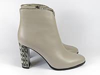Бежевые женские ботинки на каблуке Fabio Monelli, фото 1