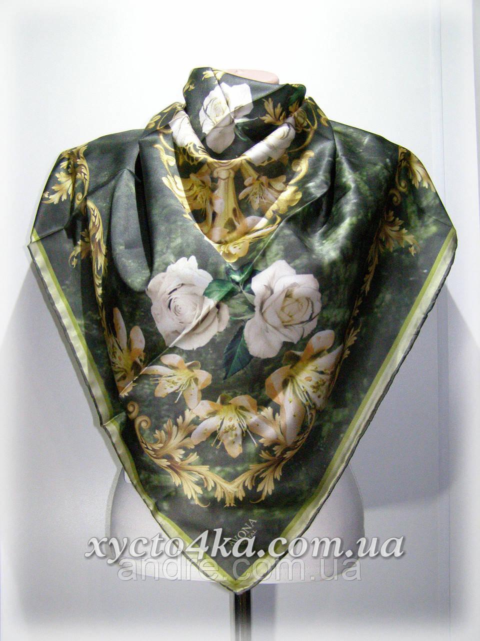 Шелковый платок дыхание весны, зелёный