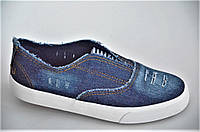 Слипоны мокасины с разрезом рваный джинс женские темно синие (Код: 1018)