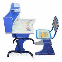 Детская парта со стульчиком трансформер Bambi HB 2072-01 (стол-парта растишка)синяя киев, фото 1