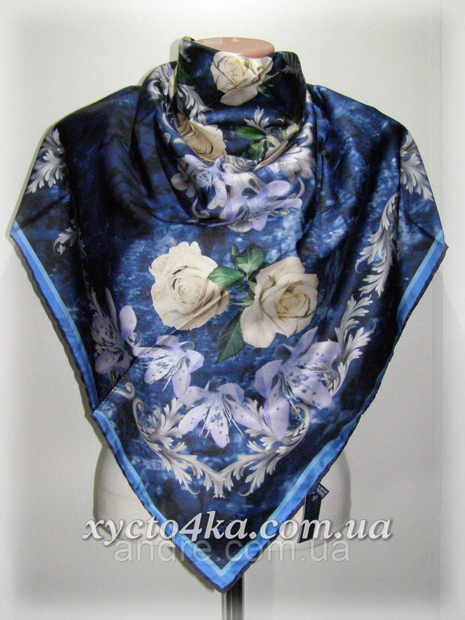 Шелковый платок дыхание весны, синий