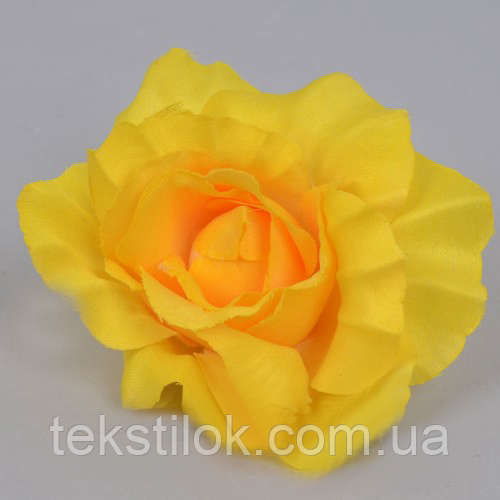 Головка троянди 10 см яскраво жовта штучні Квіти