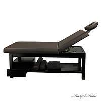 Стационарный Массажный стол 2-х секционный шириной 80 см на деревянном основании темного цвета ZD-855