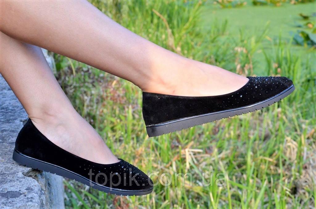 a58d6396f Туфли балетки черные замша женские удобные легкие стильные (Код: 37 ...