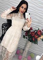 Женское стильное платье украшено жемчугом (3 цвета)