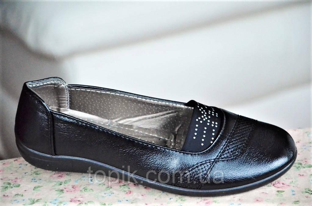 Туфли мокасины черные с резинкой женские популярные (Код: 42)