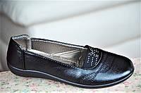 Туфли мокасины черные с резинкой женские популярные (Код: 42), фото 1