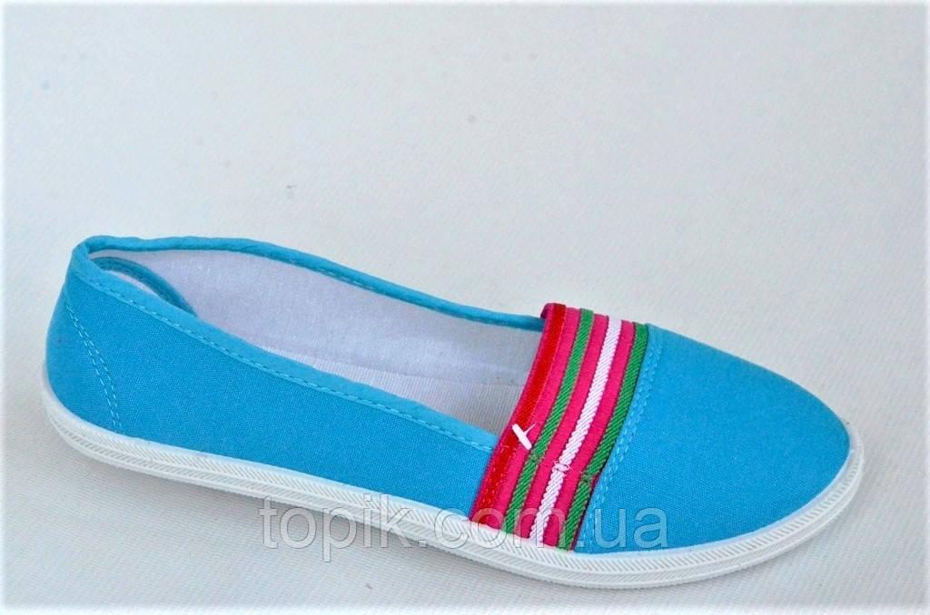 Мокасины кеды слипоны женские текстиль цвет голубой на резинке легкие и удобные (Код: 1022)