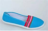 Мокасины кеды слипоны женские текстиль цвет голубой на резинке легкие и удобные (Код: 1022), фото 1