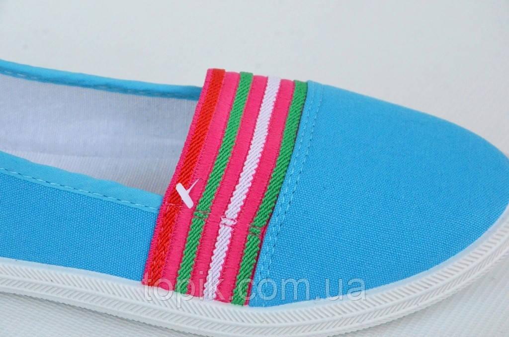 f2055682 ... Мокасины кеды слипоны женские текстиль цвет голубой на резинке легкие и  удобные (Код: 1022 ...
