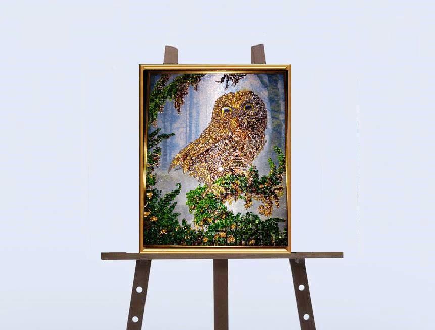 """Картина """"Нічний птах"""" вишивка (бісер)"""