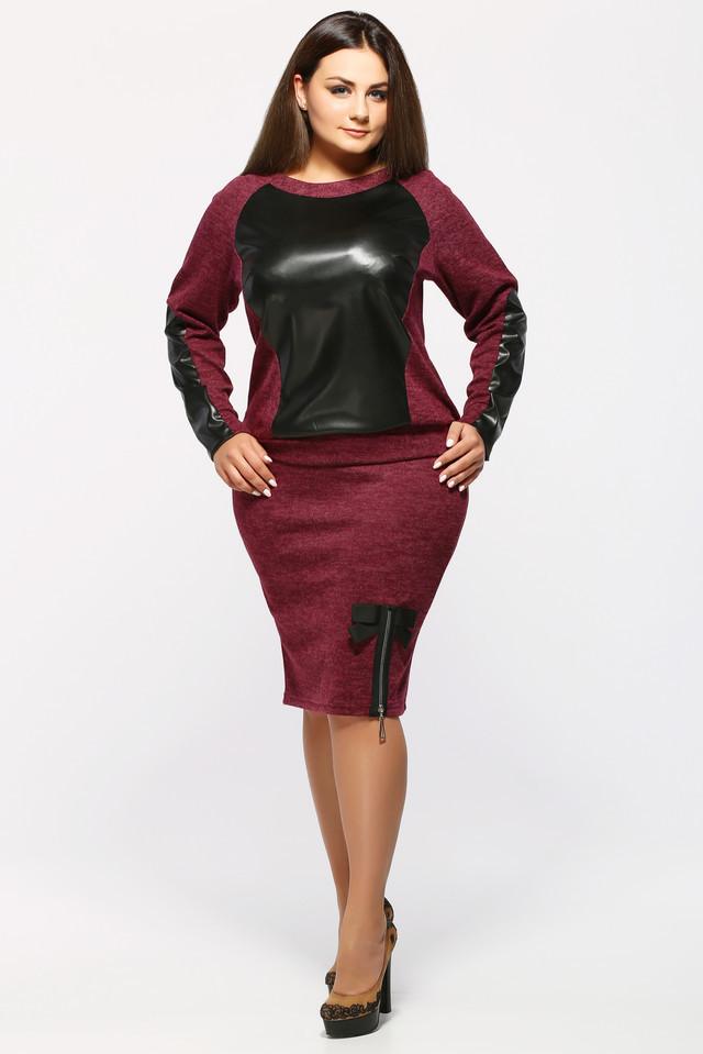Теплый юбочный костюм с 52 по 58 размер 4цвета