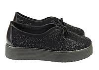 Замшевые туфли на платформе черного цвета