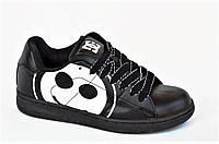 Кроссовки скейтера кожа мужские женские подростковые черные большой смайл (Код: 1008)